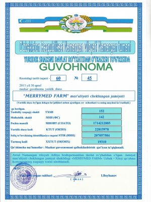 Company registration certificate